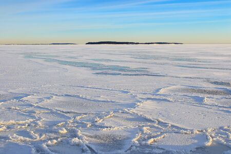 arctic landscape: Arctic look winter afternoon seascape Stock Photo
