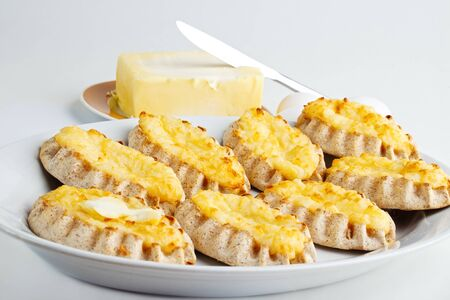 Traditional finnish baked food , karelian pasties  Stock Photo