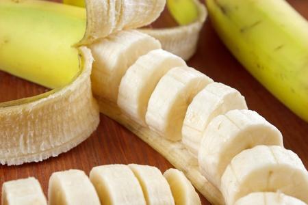 banana skin: Bananas with lot of slices closeup