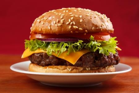 Hamburguesa a la parrilla en un plato con fondo rojo