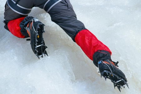 crampons: Close view of crampons used for ice climbing