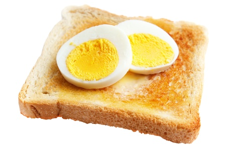 hard boiled: Toasted white bread with slices of hard boiled egg