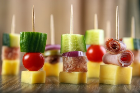 nibbles: Party nibbles, with cheese , cucumber, meat jelly