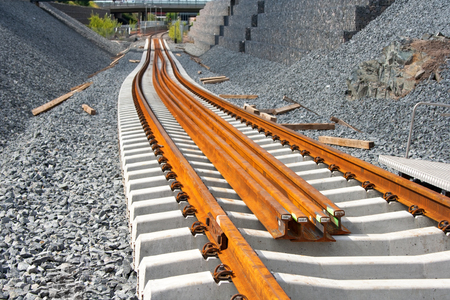 railway track: Railway construction site in Vuosaari, Finland