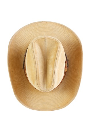 Suede cowboy hat, top view ,  isolated on white