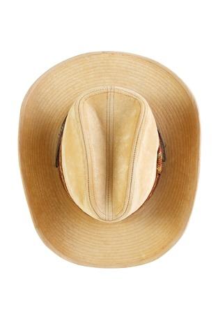 Suede Cowboy-Hut, Ansicht von oben, isoliert auf weiß Lizenzfreie Bilder