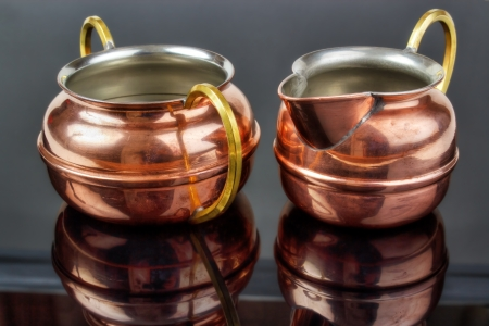 tinned: Old copper cup and jug , tin plated inside