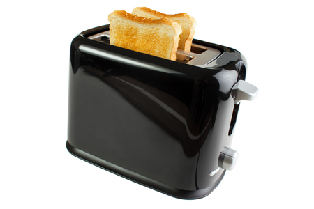 toaster: Black toaster with bread slices , isolated on white