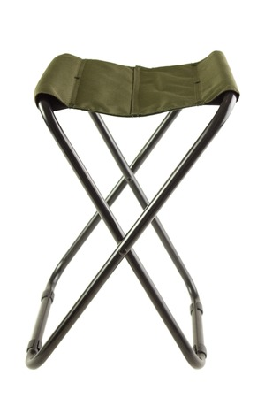 folding chair: Green folding camping chair , isolated on white Stock Photo