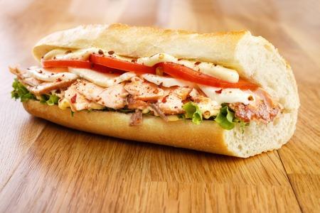 sub sandwich: Smoked salmon sandwich with  mozzarella cheese