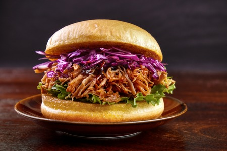 Pulled pork burger with red cabbage salad on plate Banque d'images