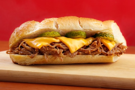 Pulled pork baguette sandwich Stock Photo