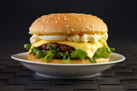 Cheeseburger with 	mayonnaise on dish with black background Standard-Bild - 107305608