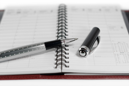 Open day planner with a ballpoint pen