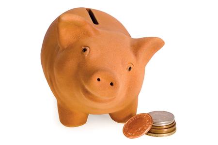 college fund savings: Business savings on piggy bank
