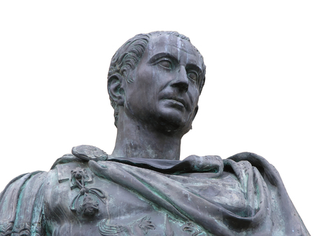 An isolated view from the bottom of a roman emperor Julius Caesar statue       photo