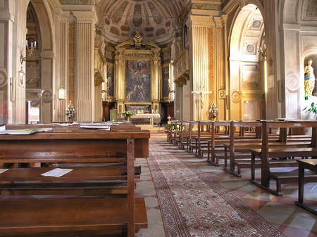Inside the church at the Rimini, Italy