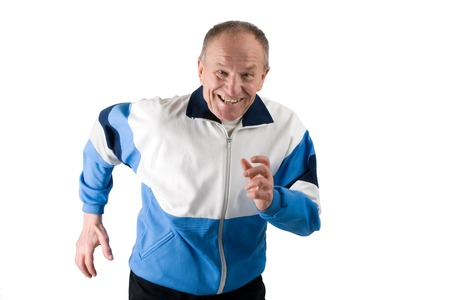 Active senior in a sportsuit running
