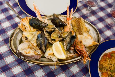 Seafood with a large variety of seafood, fish and shellfish Stock Photo - 1787431