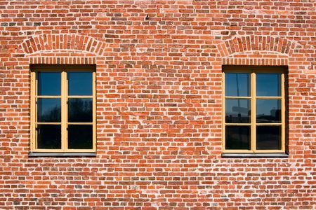 Two windows in a brick wall  Stock Photo