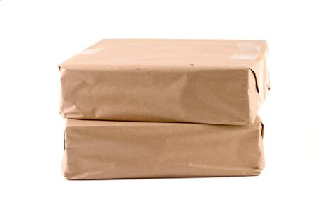 Two packages lying one on another (2) Stock Photo