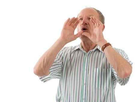 Aged man shouting. White background