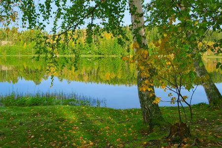 finland: The shore of beautiful lake.