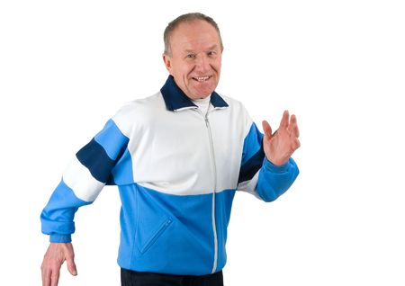 Active senior in a sportsuit running photo