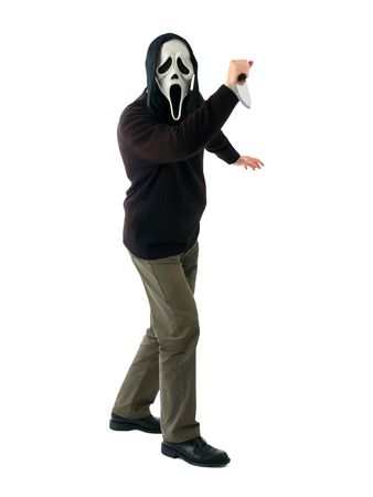The man in a mask with a knife         photo