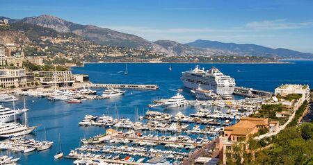 Panoramic view of Monaco harbor, Monte Carlo  Stock Photo