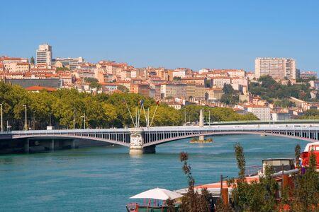 Lyon. Sight at a city through Rhone