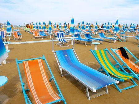 リミニのビーチの眺め。イタリア