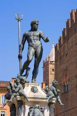 ボローニャのネプチューンの噴水。イタリア 写真素材