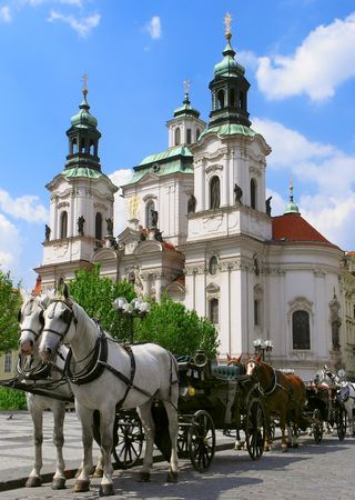 blinkers: Horses in the Old Town Square in Prague, Czech Republic