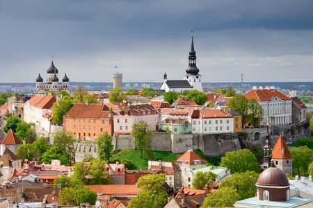 tallinn: View of the Toompea hill. Tallinn, Estonia