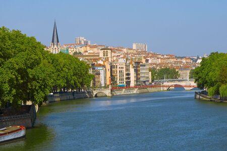 Lyon. View at a city through Saone Stock Photo