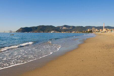 Beach near Savona. Ligurian sea, Italy Stock Photo