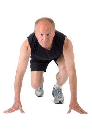hombres corriendo: Superior de corredor listo para empezar a Foto de archivo