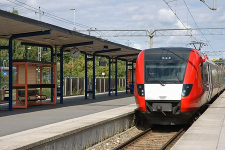 intercity: A train arriving at the station. Sweden