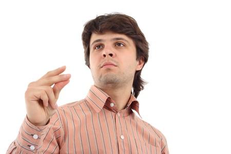 若い男が彼の指をスナップします。 写真素材