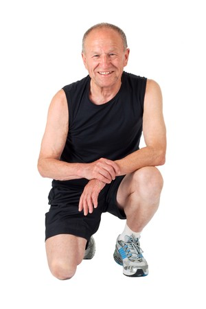 Fit senior man smiles after exercises Stock Photo - 4360504