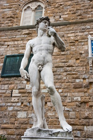 famous statues: Replica of the David statue by Michelangelo Buonarroti. Florence, Italy