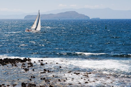 Sailing boat on the sea. Crete, Greece