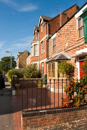 Typical english houses in Oxford. England  Stock Photo