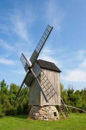 Old windmill. Saaremaa island, Estonia Stock Photo