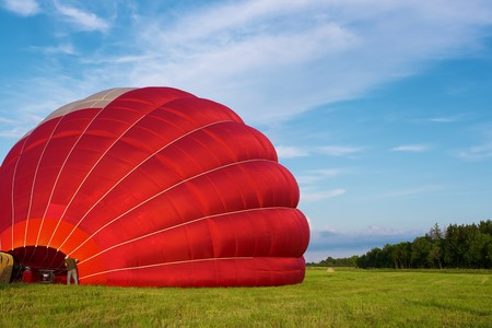 Hot air balloon inflating for launch