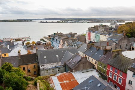 View over the town of Cobh from St Colmans Cathedral, County Cork, Ireland photo