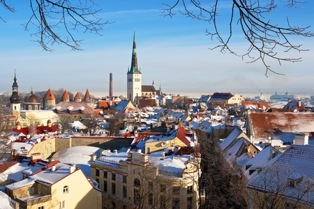 estonia: View of an old town in Tallinn. Estonia Stock Photo