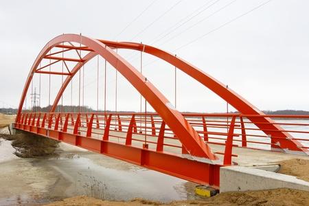 vlonder: Frame voor een nieuwe footbridge Stockfoto