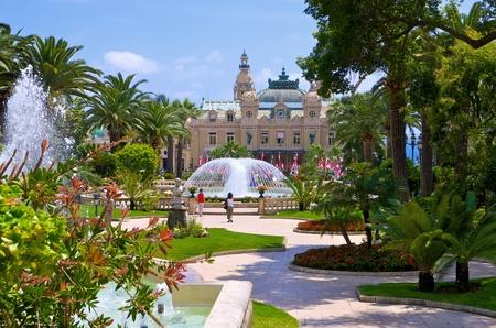 Garden and fountains near the Casino in Monaco photo